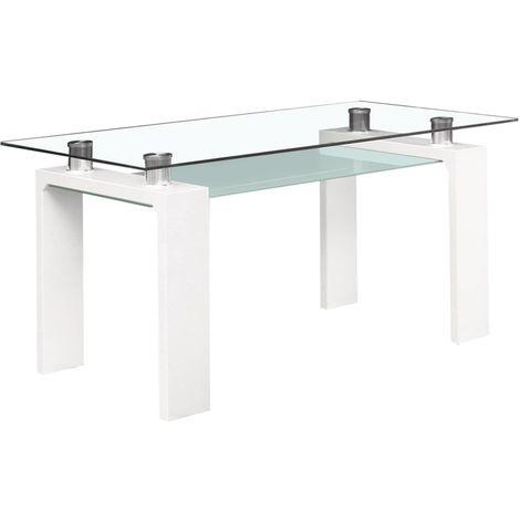 "Table repas ""Eva"" - 150 x 80 x 75 cm - Blanc laqué"