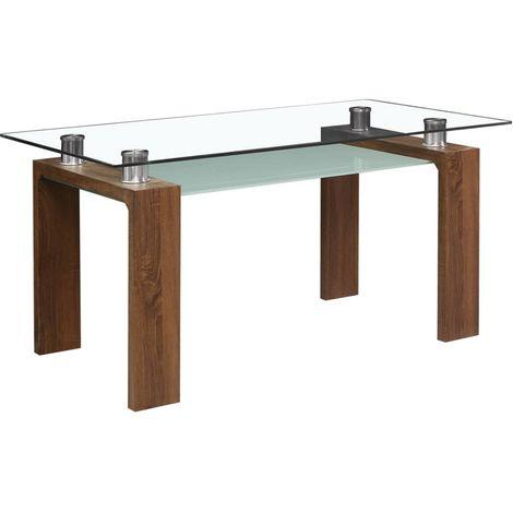 """Table repas """"Eva"""" - 150 x 80 x 75 cm - Marron laqué"""