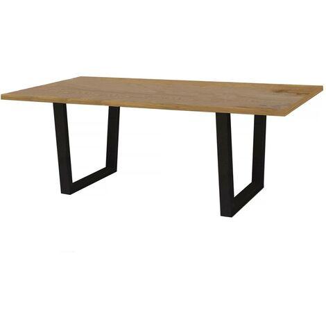 """Table repas """"Hollywood"""" - 200 x 100 x 76 cm - Chêne / Noir"""