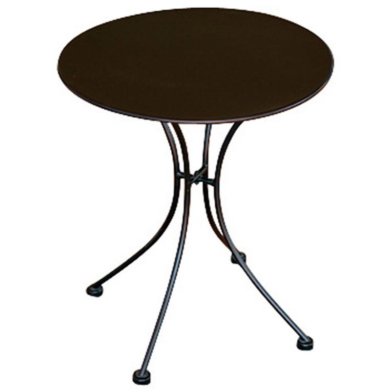 Table rond de jardin en fer forgé coloris noir - Dim : H 72 x L 60 x Ø 60 cm