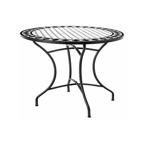 Table Ronde 90 Cm à Motif Noir Et Blanc En Céramique Et Fer