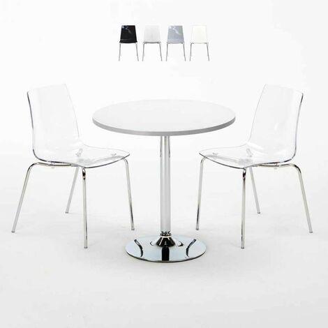Table Ronde Blanche 70x70cm Avec 2 Chaises Colorées Et Transparentes Set Intérieur Bar Café Cristal Light Silver