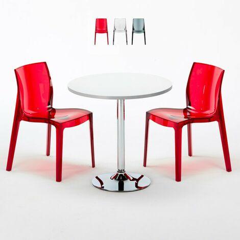 Table Ronde Blanche 70x70cm Avec 2 Chaises Colorées Grand Soleil Set Intérieur Bar Café B-Side Spectre