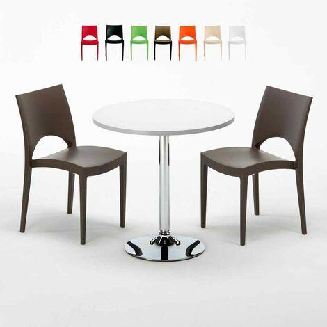 Table Ronde Blanche 70x70cm Avec 2 Chaises Colorées Grand Soleil Set Intérieur Bar Café Gruvyer LONG Island