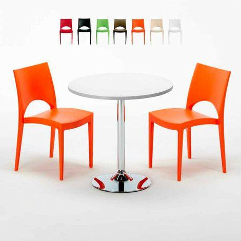 table ronde blanche 70x70cm avec 2 chaises color es grand. Black Bedroom Furniture Sets. Home Design Ideas