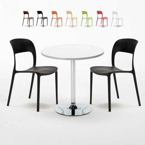 Ronde Chaises Blanche Avec 2 Set Colorées Table 70x70cm Intérieur w0v8nOymN