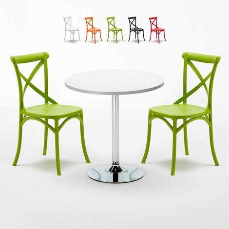 Table Ronde Blanche 70x70cm Avec 2 Chaises Colorées Set Intérieur Bar Café VINTAGE LONG ISLAND