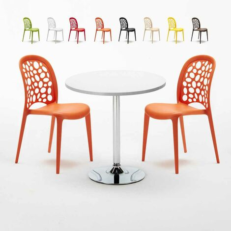Table Ronde Blanche 70x70cm Avec 2 Chaises Colorées Set Intérieur Bar Café WEDDING LONG Island