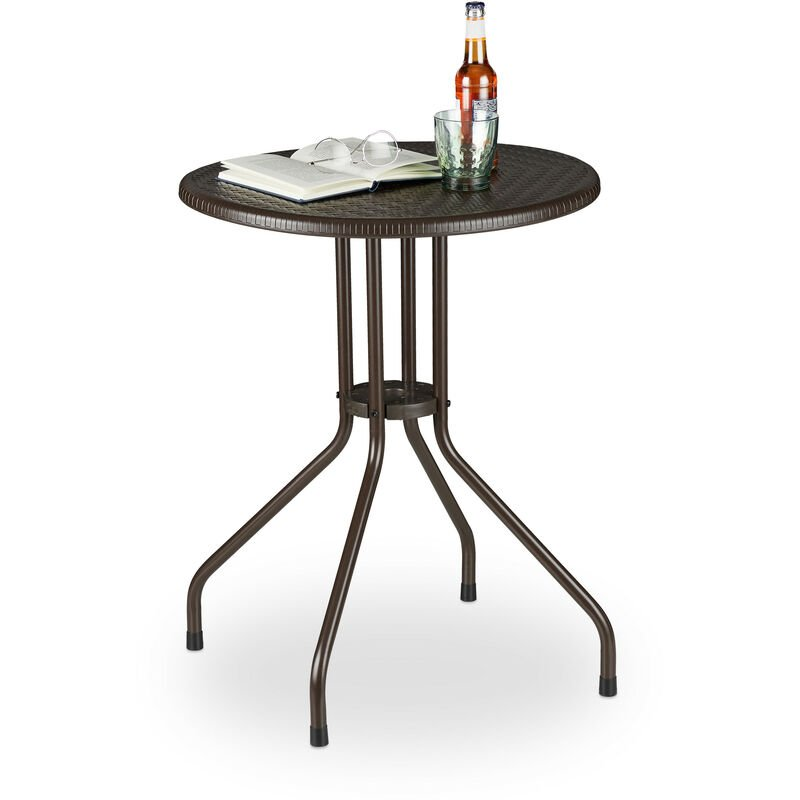 Table ronde de jardin, aspect rotin, petit, plastique, métal, stable, robuste, 2 personnes, HxD 74x60 cm, brun