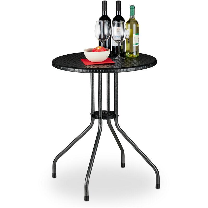 Table ronde de jardin, aspect rotin, petit, plastique, métal, stable, robuste, 2 personnes, HxD 74x60 cm, noir