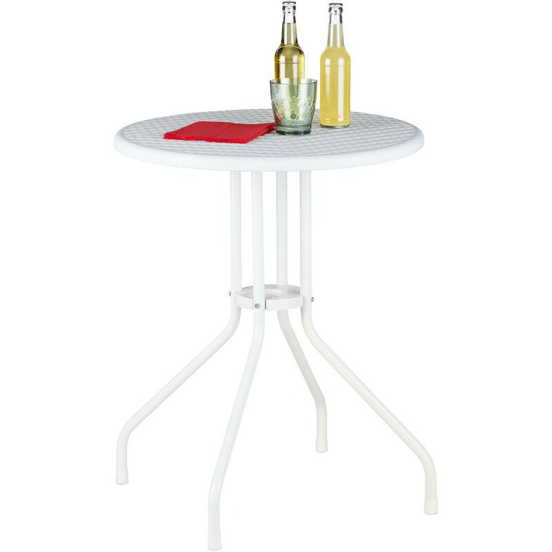 Table ronde de jardin, aspect rotin, plastique, métal, balcon, terrasse, stable, robuste, HxD 74x60 cm, blanc