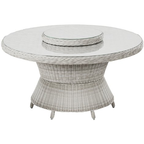 Table ronde de jardin rotative 360° coloris sable blanc - Dim : Ø 144 x 74  cm - PEGANE -