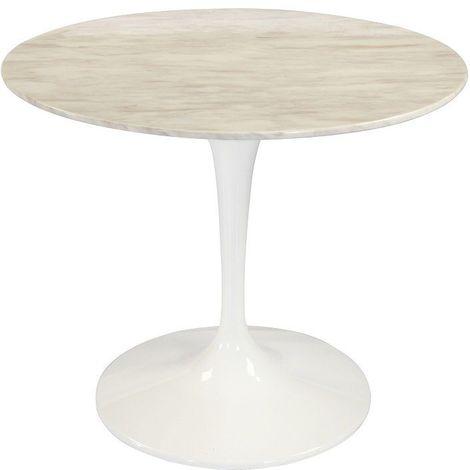 Table ronde de repas design TULIPE plateau en marbre gris beige 90 cm. - marron