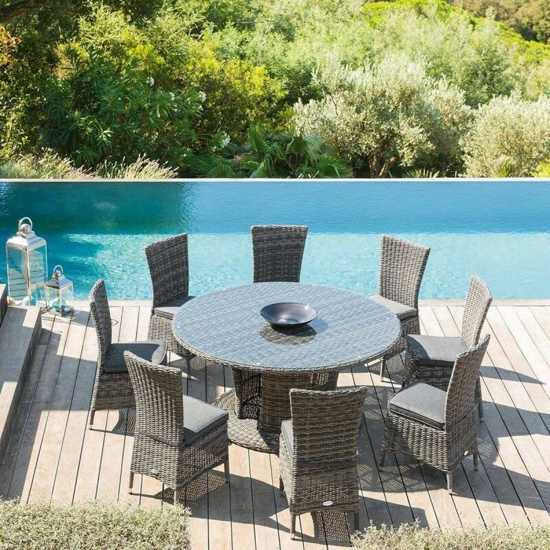 Hesperide - Table ronde d'extérieur Mooréa terre d'ombre Hespéride - Sans rallonge