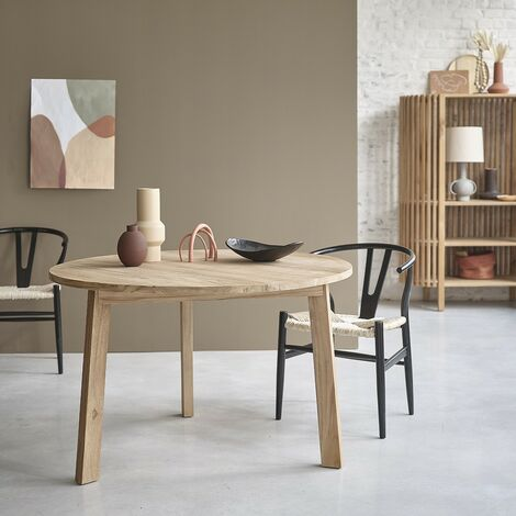 Table ronde en bois de teck 4 personnes - Naturel