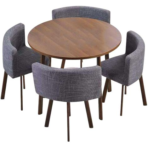 Table ronde et chaises Riga Chêne Foncé et Tissu Gris - Bois / Gris