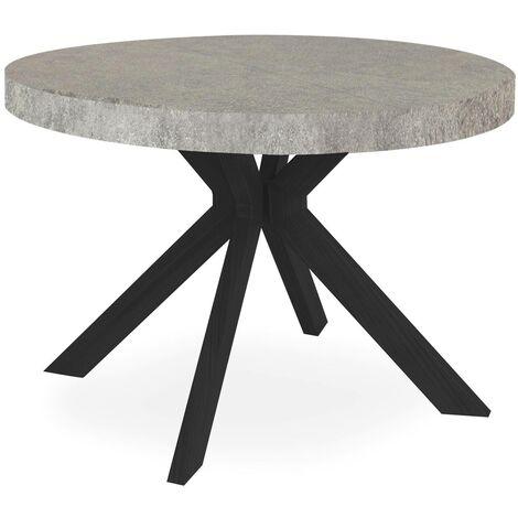 Table ronde extensible Myriade Noir et Effet Béton - Béton gris