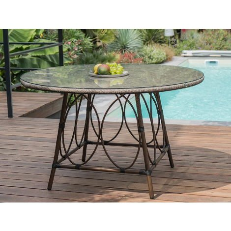 Table ronde jardin USHUAIA ø125cm marron verre - SKU-019055