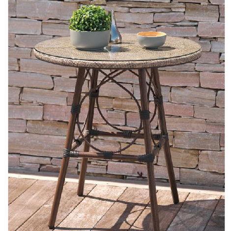 Table ronde jardin USHUAIA ø70cm marron plateau verre