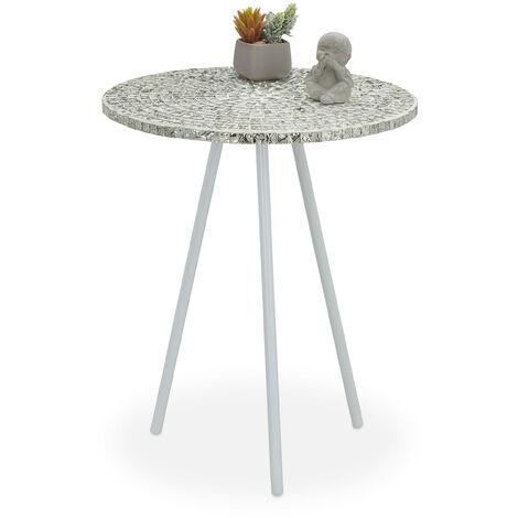 Table ronde mosaïque, Table d'appoint, Décorative, Table de jardin, fait main, HxD: 50 x 41 x 16 cm, blanc