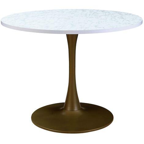 Table ronde Necy Bronze et Effet Marbre - Blanc