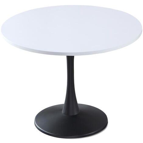 Table ronde Necy Noir et Blanc - Noir / Blanc