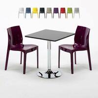 Table Ronde Noire 70x70cm Avec 2 Chaises Colorées Grand Soleil Set Intérieur Bar Café ICE COSMOPOLITAN