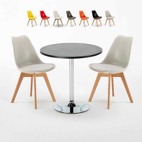 Table Ronde Noire 70x70cm Avec 2 Chaises Colorées Set Intérieur Bar Café NORDICA Cosmopolitan