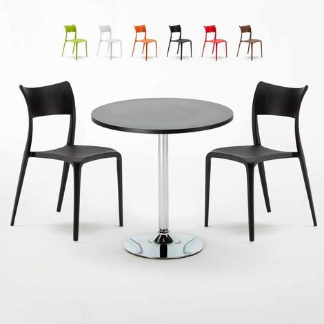 Table Ronde Noire 70x70cm Avec 2 Chaises Colorées Set Intérieur Bar Café Parisienne Cosmopolitan