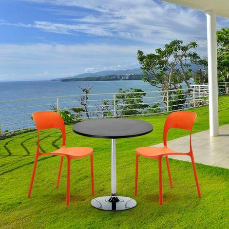 Table Ronde Noire 70x70cm Avec 2 Chaises Colorées Set Intérieur Bar Café RESTAURANT COSMOPOLITAN