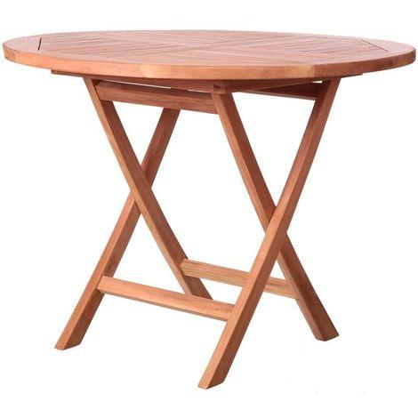 Table Ronde Pliant Kayla Teck Bois 100 X 100 X 78 50 Cm Lyn 82492