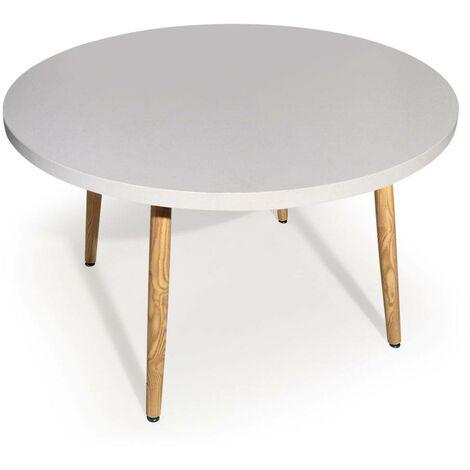 Table ronde scandinave Nora Blanc - Blanc