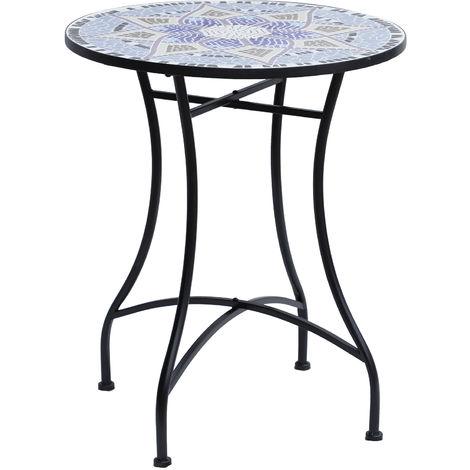 Table ronde style fer forgé bistro plateau mosaïque motif fleur métal époxy anticorrosion noir céramique