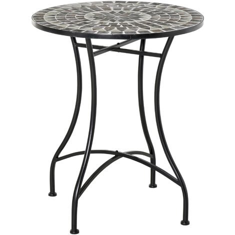 Table ronde style fer forgé bistro plateau mosaïque motif rose des vents métal époxy anticorrosion noir céramique