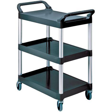 Table roulante 3 L surface de chargement560xl450mm noir/argenté alu Cap. de ch.90 kg montants aluminium/surfaces de chargemen