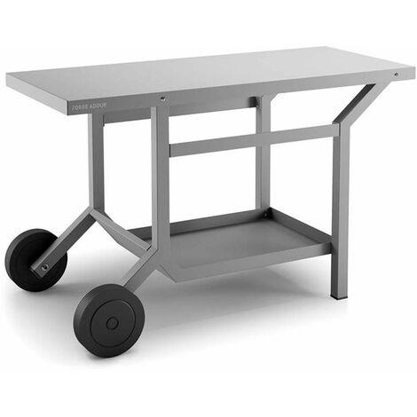 Table roulante acier gris anthracite mât pour plancha