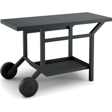 TABLE ROULANTE ACIER NOIR ET GRIS ANTHRACITE L1191XP648XH760MM
