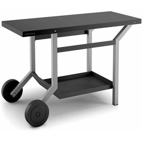 Table roulante acier noir et gris mat pour plancha