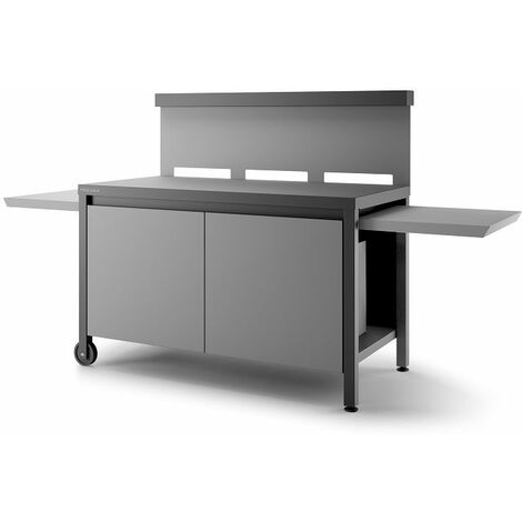 Table roulante crédence fermée Forge Adour - Noir et gris - Version 2019