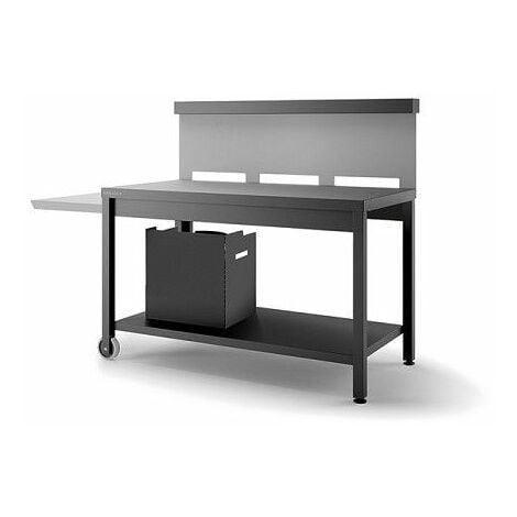 Table roulante crédence ouverte Forge Adour - Noir et gris - Gris/Noir