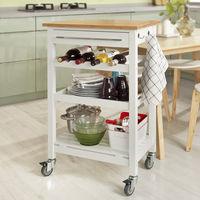 Table roulante meuble de rangement cuisine Desserte à roulettes, Chariot de service roulant + un billot gratuit FKW16-WN SoBuy®