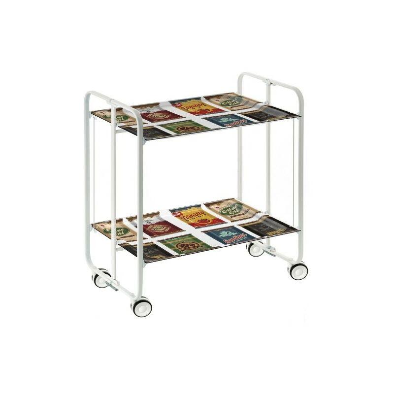 Table roulante pliante BAUHAUS châssis blanc, 2 plateaux - 22 - Don Hierro