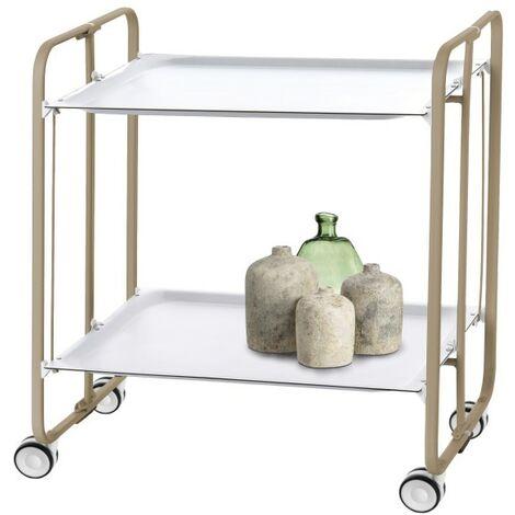 Table roulante pliante BAUHAUS châssis couleur sable, 2 plateaux - Blanco