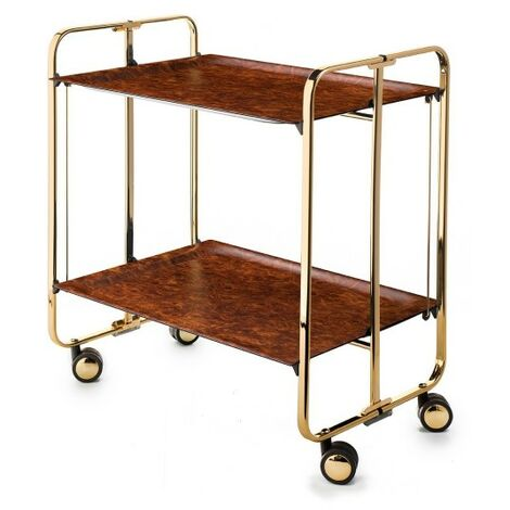 Table roulante pliante BAUHAUS châssis recouvert d\'un bain d\'or. - Raiz