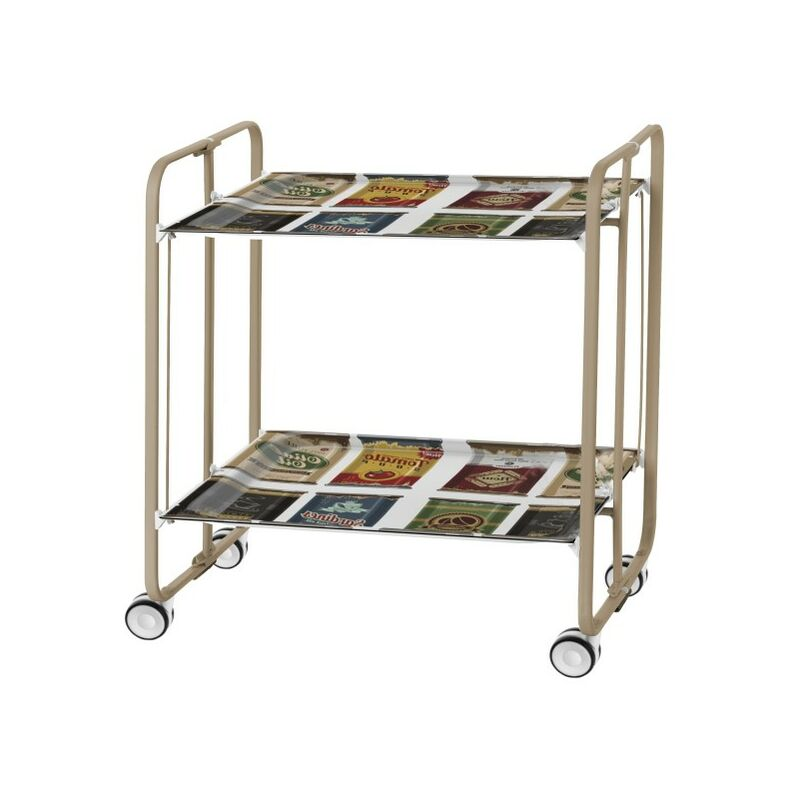 Table roulante pliante BAUHAUS châssis couleur sable, 2 plateaux - 22 - Don Hierro