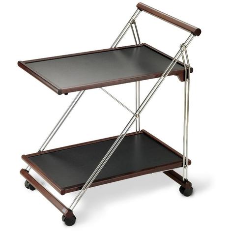Table Roulante Pliante En Bois Wengé Et Fil Chromé 840 X 660 X 510 Cm Pegane