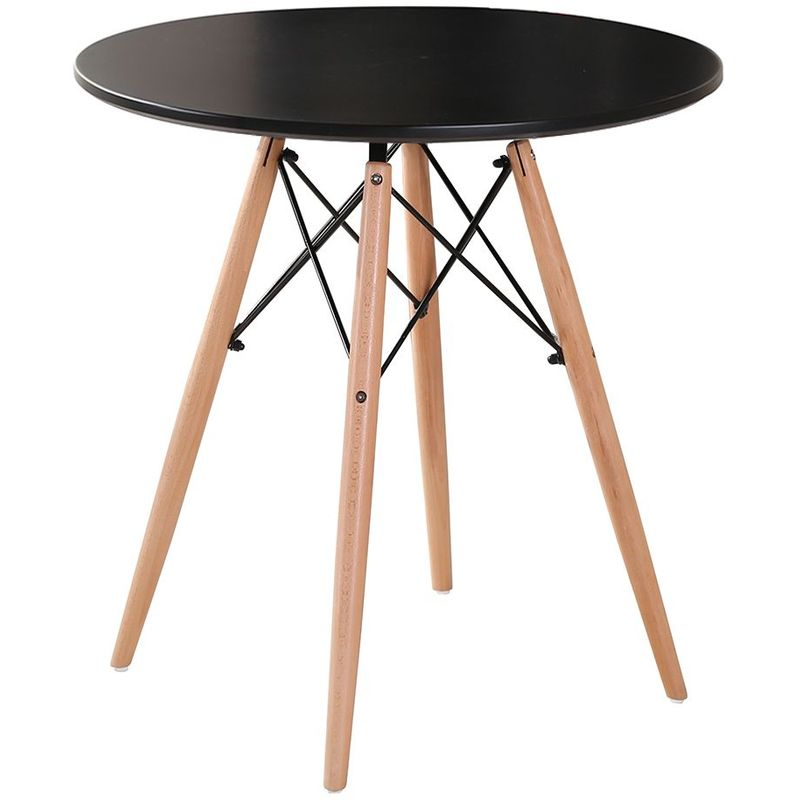 Table Salle à Manger Pour 2 4 Personnes Look Scandinave Cuisine Ronde Noir Pieds En Bois Hêtre Massif ø 80 Cm