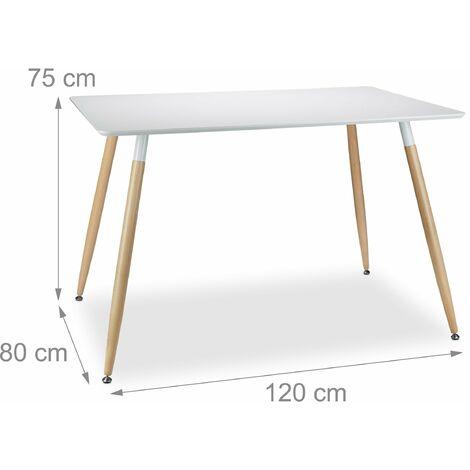 Table salle à manger salon style nordique 120 x 80 cm blanche - Blanc