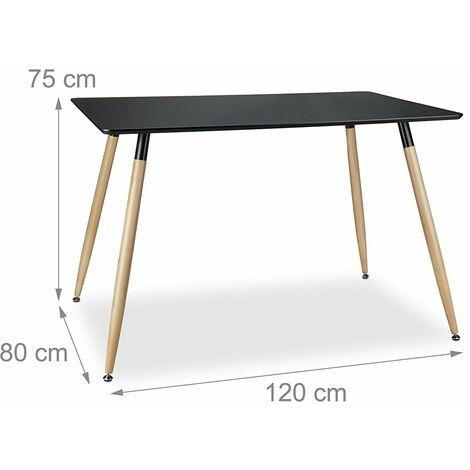 Table salle à manger salon style nordique 120 x 80 cm noir - Noir