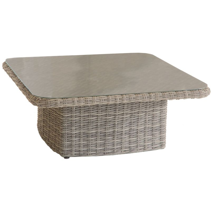 Hesperide - Table basse relevable de jardin en résine tressée Moorea - 110 x 110 x 45 - Marron